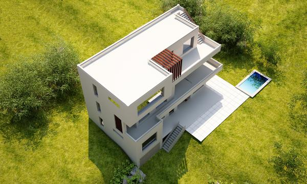 პროექტი, ფოტომონტაჟი, ინდივიდუალური საცხოვრებელი სახლი